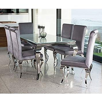 Amazon.de: Louis Esstisch-Set mit 6 chairs- weiß Edelstahl Moderne Luxus