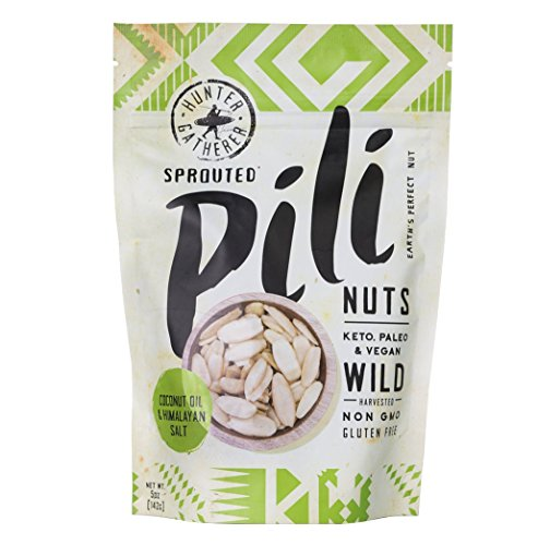 Pili Hunters Wild Sprouted Pili Nuts, Coconut Oil and Himalayan Salt, Paleo, Keto, Vegan, Low Carb - 5 oz. Bag