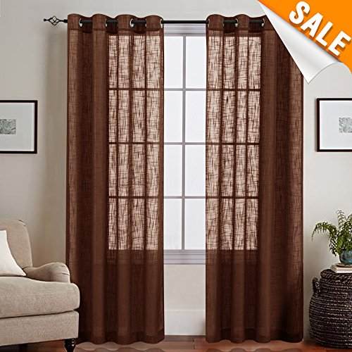 One Grommet (Linen Sheer Voile Curtain Panels for Bedroom, Open Weave Slub Voile Window Treatments , Grommet Top, One Pair, 55