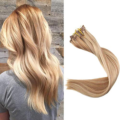Full Shine 18 inch Highlight Hair Extensions Color #10 Golden Brown Highlight With #16 Remy Human Hair Extensions Clip Hair 9 Pieces Per Set Double Weft Clip Ins 100g Per Set -