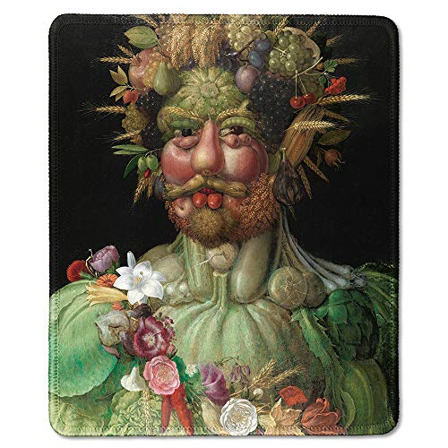 dealzEpic - Art Mousepad - Natural Rubber Mouse Pad with Famous Fine Art Painting of Emperor Rudolf II as Vertumnus Portrait with Fruits, Vegetables and Flowers by Giuseppe Arcimboldo - 9.5x7.9 inches