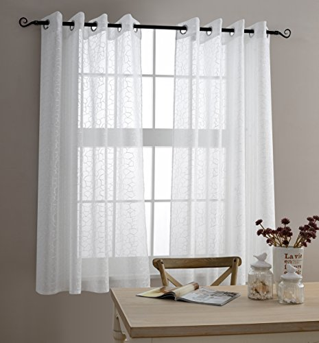 MYSKY HOME Top Grommet Window Embroidery Voile Sheer Curtain