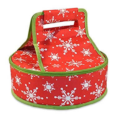DII Insulated Pie Tote, Picnic, Farmers Markets, BBQ's, Grocery Shopping, Potlucks, To Go Lunches, Craft/Dish Storage, Perfect for Holidays Parties, Christmas Gift - Snowflakes