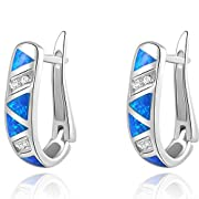 Amazon Lightning Deal 95% claimed: Newshe Jewellery Huggie Created Australian Blue Opal Sapphire 925 Solid Sterling Silver Hoop Earrings
