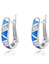 Newshe Jewellery Huggie Created Australian Blue Opal Sapphire 925 Solid Sterling Silver Hoop Earrings