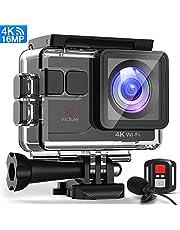 Victure Actioncam 4K WiFi 170° Weitwinkel Aktionkameras Wasserdicht 40M Unterwasserkamera 20MP Ultra Full HD Sport Action Kamera mit Ladegerät 2 Akkus und Gratis Zubehör …