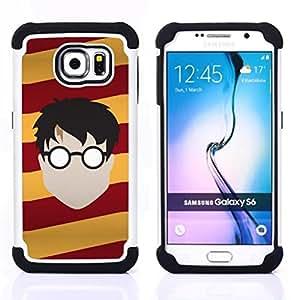 "Pulsar ( Gafas Faceless Man Boy Stripes Arte Dibujo"" ) Samsung Galaxy S6 / SM-G920 SM-G920 híbrida Heavy Duty Impact pesado deber de protección a los choques caso Carcasa de parachoques"