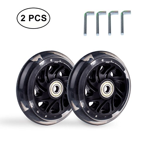 Set Bearings One (B.LeekS RollerbladeSkate Wheel Replacements, Kick Scooter Replacement Wheels with Bearings, One Set of (2) Wheels, Multiple Sizes & Colors with LED Illuminating Lights (Black, 100mm))