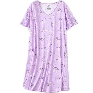 Amoy-Baby Women s Cotton Nightgown Casual Nights Sleepwear Short Sleeves  Print Sleepshirt XTSY001-Purple 1eb233c47