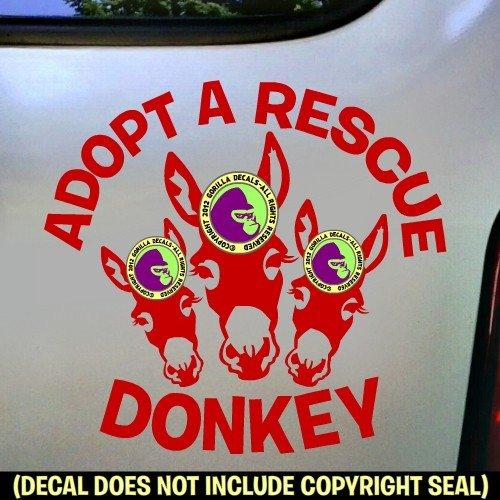 ADOPT A RESCUE DONKEY Burro Love Decal Vinyl Bumper Sticker Laptop Window Car Trailer Wall RED