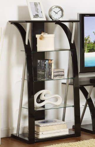 Charmant Media Tower With Tempered Glass In Black Finish