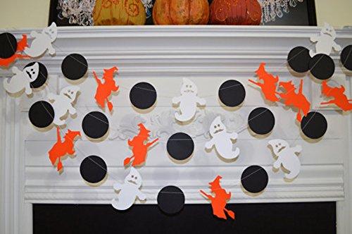 Mustache Ghost, witch circle halloween garland, orange black white halloween decor, halloween bunting, ghost garland, witch garland -