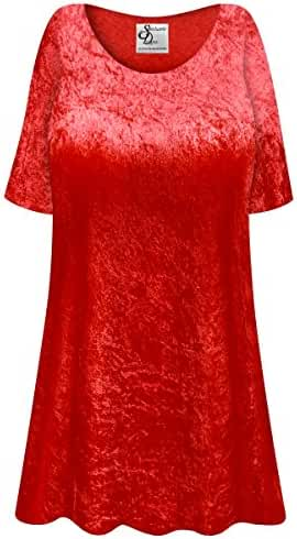 Red Crush Velvet Plus Size Supersize Extra Long A-Line Top