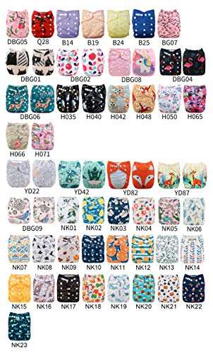 - Babygoal U Pick Up Baby Cloth Diapers, One Size Adjustable Reusable Pocket Nappy 12pcs Diapers+12pcs 5-Layer Charcoal Bamboo Reusable Inserts 12FZ04-3