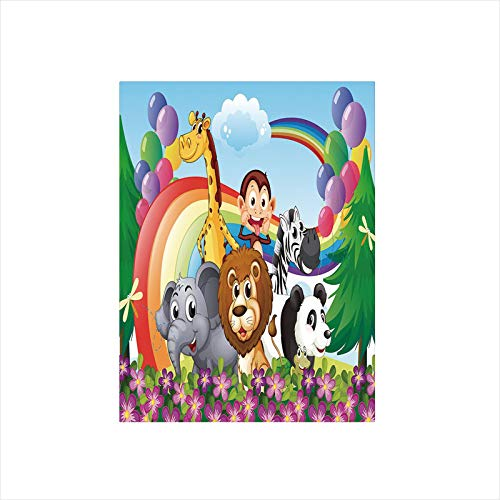 Decorative Privacy Window Film/Group of Animals at the Hilltop with a Rainbow and Balloons Fresh Garden Happy/No-Glue Self Static Cling for Home Bedroom Bathroom Kitchen Office Decor Multicolor