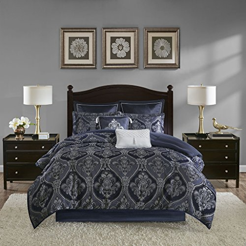 Madison Park Ingrid 8 Piece Chenille Jacquard Comforter Set Blue King