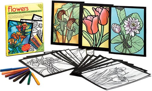 flowers stained glass coloring kit arts crafts dover dover john green carolyn relei ed sibbett jr 9780486466491 amazoncom books