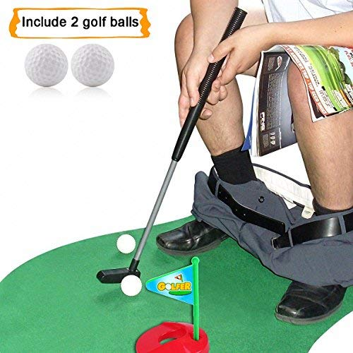Putter On Face (HighSound Toilet Golf, Potty Putter Set Bathroom Game Mini Golf Set Golf Putting Novelty Set, Play Golf on the Toilet)