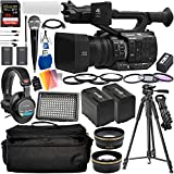 Panasonic AG-UX90 4K/HD Professional Camcorder with Deluxe Accessory Bundle - Includes: Audio-Technica VHF TwinMic System + Sony MDR-7506 Headphones + SanDisk Extreme PRO 128GB SD Card + More