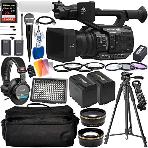 Panasonic AG-UX90 4K/HD Professional Camcorder with Deluxe Accessory Bundle – Includes: Audio-Technica VHF TwinMic System + Sony MDR-7506 Headphones + SanDisk Extreme PRO 128GB SD Card + More