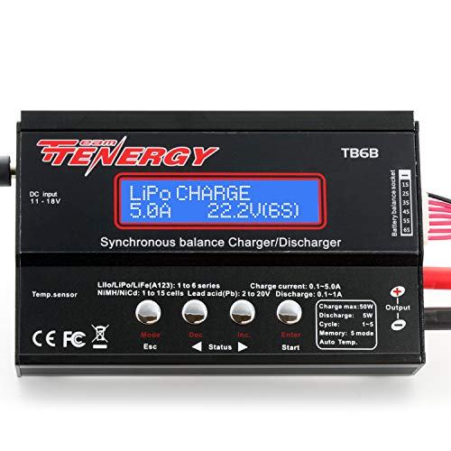 Tenergy TB6-B Balance Charger Discharger 1S-6S Digital Battery Pack Charger for NiMH/NiCD/Li-PO/Li-Fe Packs LCD Hobby Battery Charger w/ Tamiya/JST/EC3/HiTec/Deans Connectors + Power Supply ()