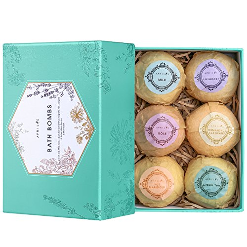 51NMr0BRP6L - Bath Bombs Gift Set, Ultra Large Vegan Bath Bomb Kit, Lush Spa Floating Fizzies, Best Gift Ideas for Kids, Women, Must-have Bath Products, Add to Bubble Bath, Bath Salts – Pack of 6