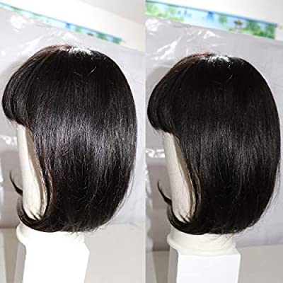 30cm Bob Wig With Bangs Long Yao Short Bob Human Hair Wigs With Bangs For Black And White Woman Straight Bob Wigs 8a Brazilian Virgin Human Hair Non Lace Front Wigs