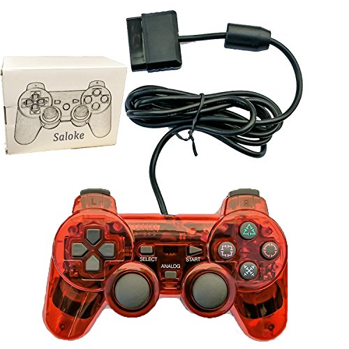 Saloke Wired Gaming Console for Ps2 Double Shock (Clear Red)