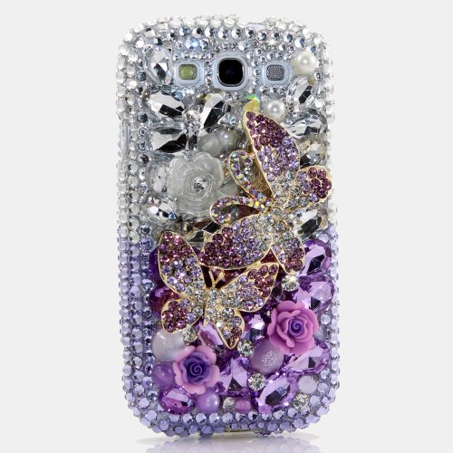 Samsung Galaxy S4 I9500 Luxury 3d Bling Case - Gorgeous Royal Purple Lavender Butterfly Beauty Design - Swarovski Crystal Diamond Sparkle Girly Protective Cover Faceplate (100% Handcrafted By Star33mall)