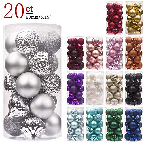 KI Store 20ct Christmas Ball Ornaments Shatterproof Christmas Decorations Large Tree Balls for Holiday Wedding Party Decoration, Tree Ornaments Hooks Included 3.15\
