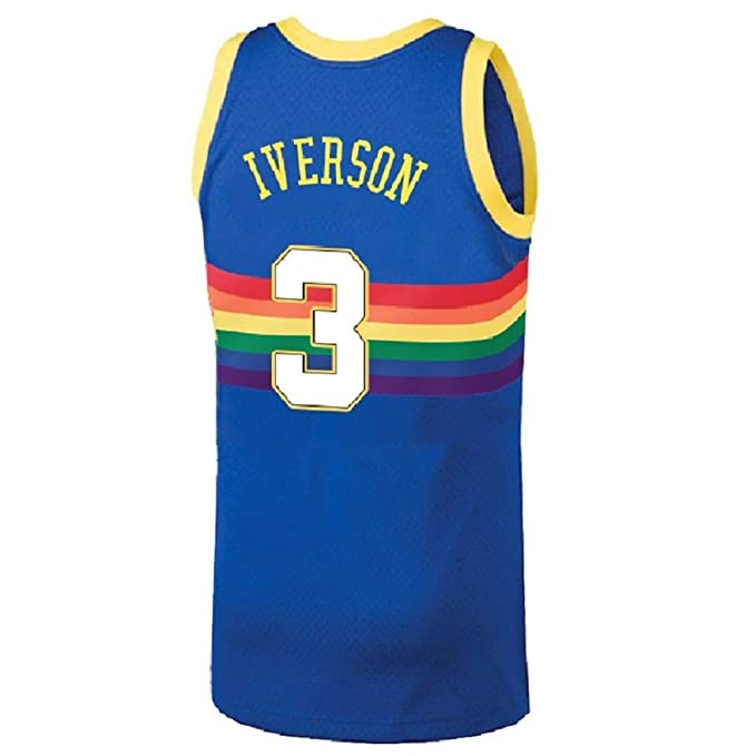 sale retailer 9a363 cd0d5 Men's Allen Retro Jerseys Athletics Iverson Jersey Denver Basketball #3  Jersey Blue(S-XXL)