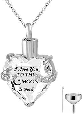 Heart Urn Necklace for Ashes I Love You to The Moon and Back November Birthstone Memorial Pendant