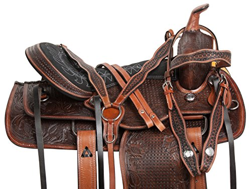 AceRugs 14 15 16 17 18 Antique Oil Western Ranch Work Rodeo Leather Cowhide Horse Saddle TACK Package Premium (17)