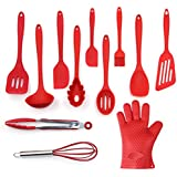 Utensils Set, 12-Piece Complete Silicone Baking & Cooking Kitchen Tools Set , Cookware Set , Kitchen Gadgets - Red - Utensilios de Cocinas