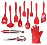 Utensils Set, 12-Piece Complete Silicone Baking & Cooking Kitchen Tools Set , Cookware Set , Kitchen Gadgets - Red - Utensilios de Cocinas
