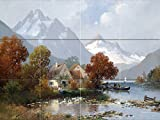 Mountain landscape by Adolf Kaufmann Tile Mural Kitchen Bathroom Wall Backsplash Behind Stove Range Sink Splashback 4x3 12'' Ceramic, Matte