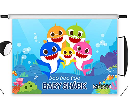 LB Blue Sea Shark Backdrops 9x6ft Fabric Cartoon Shark Photo Backdrop for Pictures Custom Kids Children Baby Shower Birthday Party Photo Booth Backdrop Props,Washable