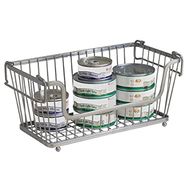 InterDesign York Lyra Kitchen Pantry Open Basket Bin, 12-Inch, Silver