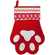 """18.5"""" Velvet Pet Paw Christmas Stocking with Knitted Cuff (Red Paw)"""