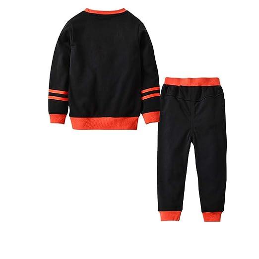 XOXO Precioso Little Girl Boy Pijamas 100% algodón de Manga Larga para niños de Halloween Party Clothes Pijama de niños Camiseta (Color : Negro, ...