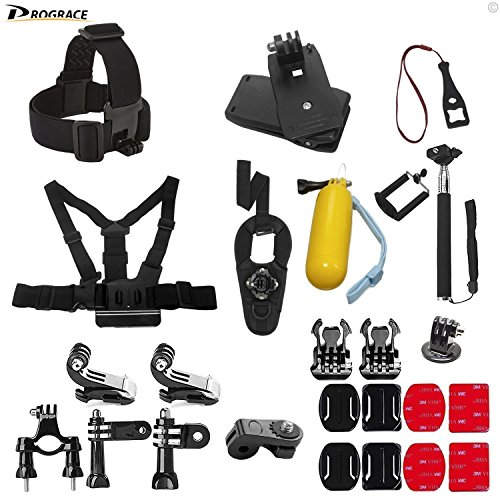 DROGRACE Action Camera Accessories Bundle Kit Compatible for GoPro HERO 6,5 Black/Session, AKASO, DBPOWER, YI, Campark, Crosstour, FITFORT, EKEN, APEMAN Sports Action Camera, Outdoor Sports kit