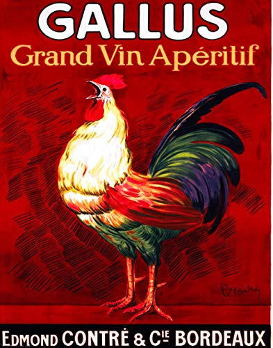 "11""x14""Decoration Poster.Gallus wine.Bordeaux.Cock rooster.7695"