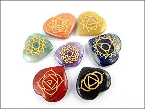 Energized 7 (Seven) Heart Reiki Palm Stone Chakra Jet International Healing Crystals Engraved Carved (Shaped Jet Stone)