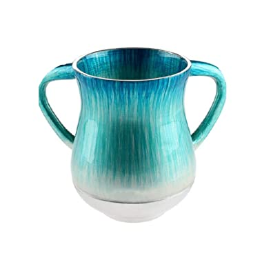 2-Handled Large Washing Cup for Ritual Hand Washing Waterfall of Color Enamel on Aluminum + Bonus Embroidered Fingertip Towel (Turquoise)