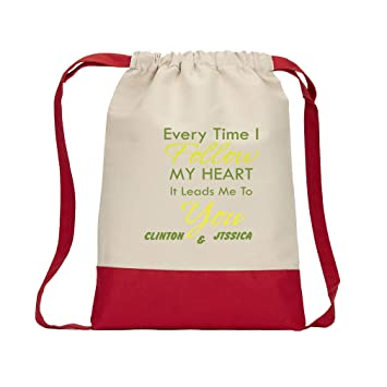 5eb7667ed Amazon.com | Personalized Custom Text Every time I follow my heart it leads Cotton  Canvas Color Drawstring Bag Backpack - Red | Drawstring Bags