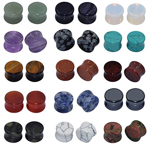 1/2 Inch Stone (Longbeauty 15 Pair Natural Mix Stone Flared Fresh Tunnels Ear Plugs Expander Piercing Gauges kit)
