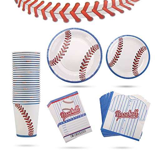 Baseball Paper Plates (Baseball Tableware Plate Cup Napkin baseball Ticket Invitation Card for Birthday Party Supplies Game Day Sports Event Tailgate)