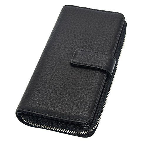 Cyanb Big Soft Leather Wallet for Women Long Large Capacity Cluth Multi Card Holder Oranizer Travel Purse Black by Cyanb