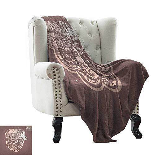 - Zodiac Aries, Lightweight Blanket, Stylized Ram Animal Artwork with Little Stars and The Sign Esoteric, Digital Printing Blanket, (W50 x L60 Inch Umber and Pale Peach