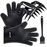 Product review for GDEALER Silicone Gloves - Meat Claws - Heat Resistant Grilling Oven Gloves Mitts Set BBQ Cooking Gloves with Meat Shredder and Silicone Basting Brush for Cooking, Grilling, Baking, Barbecue